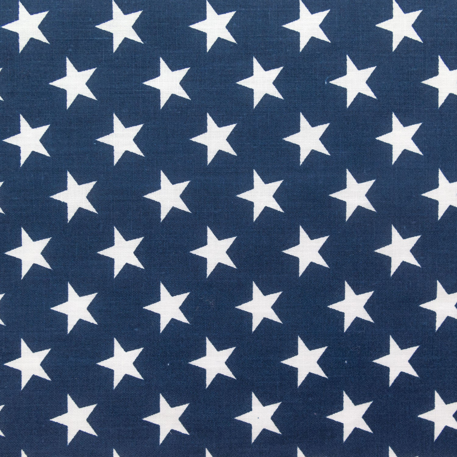 Poly cotton print white stars on navy background 60 for Star fabric australia