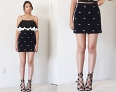 90's Dark navy high waist corduroy fitted mini a line skirt with horse pattern embroidery