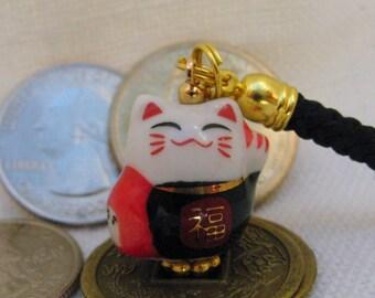 Lucky Cat Maneki Neko with Daruma Porcelain Phone/Handbag Charm with Black Braided Lanyard/Strap and Bell.