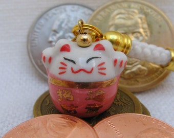 Lucky Beckoning Fortune Cat Double-Sided Porcelain Handbag/Cellphone Charm with White Braided Strap/Lanyard and Bell. PINK