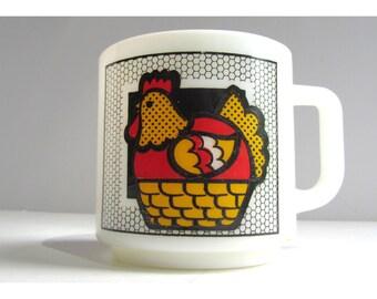 Vintage Hen Chicken Milk Glass Mug