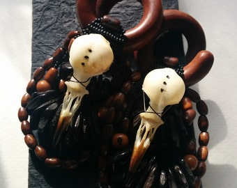 "7/16"" sawa saba wood coils, with starling skulls and oak, birch, maple and glass beads, and silk threadwrapping."