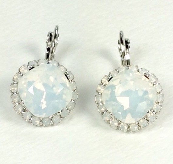 Swarovski Crystal 12MM Cushion Cut, Lever- Back Drop Earrings With Halo - Gorgeous Bridal Earrings - White Opals  SALE  35. -  FREE SHIPPING