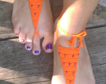 Orange crochet barefoot sandals with purple beads