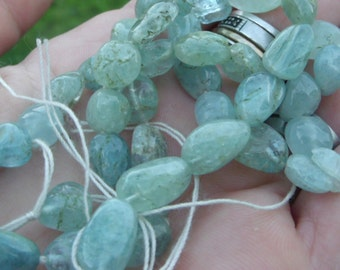 7-12mm Blue Green Aquamarine Pebble Beads - full 14 inch strand