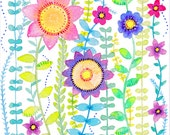Wild Flowers Print, Watercolour Flowers,