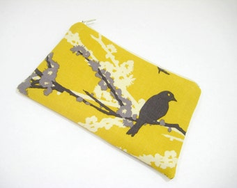 Bird Pouch, Cosmetic Bag, Zippered Pouch, Sparrows Pouch, Gadget Accessory