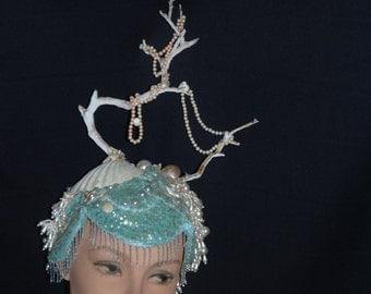 Fantasy Crown Photo Prop Mermaid Headpiece OAK Showgirl Burlesque Hat Festival Wear