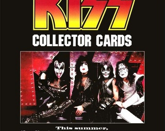 "KISS Cornerstone Collectors Cards ""Hotter Than Hell"" Stand-Up Display - Collectibles Collection Collector Memorabilia Rock Band Music Gift"