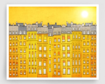 Yellow facade (landscape)- Paris illustration Fine art illustration Poster Paris art City print Paris decor Travel poster Wall art Cityscape