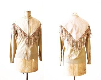 Fringe Jacket / Fringed Zip Up Sweater / 60s Clothing / Beaded / Tan / Western Jacket / Bohemian Clothing / Hippie