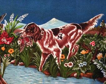 Vintage Hunting Dog Tapestry / Large Vintage Tapestry / Something for the Man Cave