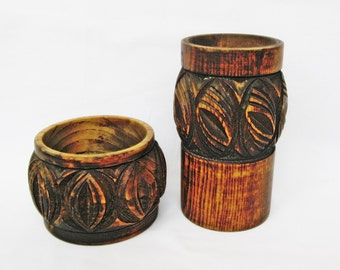 Vintage Wood Carved Cup and Bowl Pens and Pciles holder Hand made desk top organizer