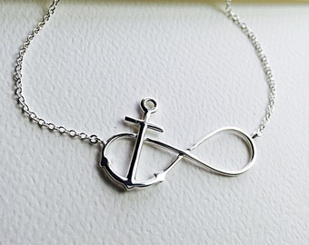 """All Sterling Silver Infinity Anchor Necklace,  nautical, spiritual Jewelry 16"""", 17"""" , 18"""" inch"""