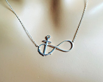 """Infinity Anchor Necklace,  Sterling silver, Infinity necklace, Anchor necklace, Infinity anchor,  16"""", 17"""" , 18"""" inch"""