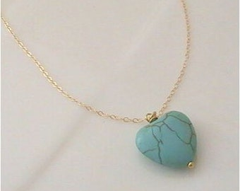 Natural Turquoise Heart Pendant Necklace ( see Description for amounts )