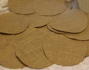 "50- 4"" Burlap Circles for Weddings,Scrapbooking,Home Decor,Mini Albums,Card Making,Journals,Altered Art,Mixed Media Art,Collages"
