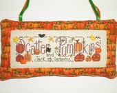 Completed Cross Stitch Halloween Decor Scatter Pumkin and Jack O Lanterns Decorative Ornament Pillow Ready to Ship