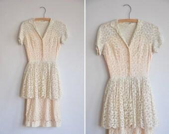 50s Tender Heartstrings dress/ vintage 1950s lace dress/ cream lace peplum dress