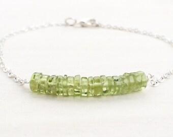Peridot Bar Bracelet, Green Silver Bracelet, Dainty Jewelry