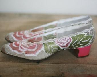vintage women's pink floral pumps by de liso debs size 8N