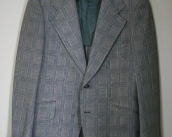 vintage green plaid polyester sport coat size 38