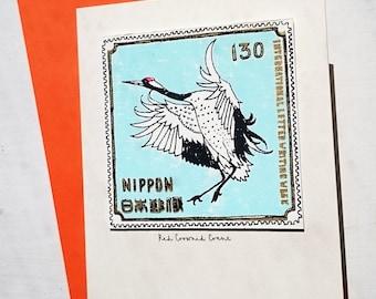 Red Crested Crane/ Japanese stamp card