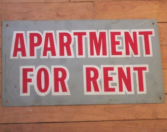 1920's Tin Sign / Apartment For Rent Sign