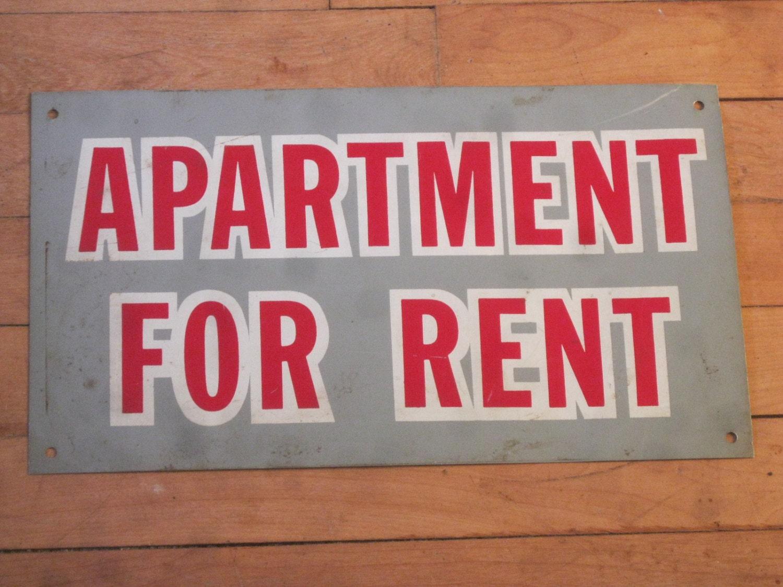 1920 39 s tin sign apartment for rent sign. Black Bedroom Furniture Sets. Home Design Ideas