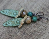 Boho Rustic Floral Primitive *Earth Gardens* earrings n50- Artisan  Inviciti . Green Yellow Patina . Gipsy . Bohemian . ooak . leather