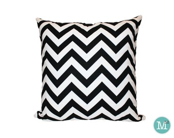 Black & White Chevron Pillow Cover Euro - 22, 24, 26 and More Sizes - Zipper Closure- ec246