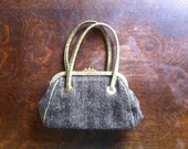 Black and Tan Herringbone Purse with Green Reptilian Leather Straps and Trim