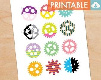 Gears Waldorf Montessori Printable - DIY Print 8x10 and 11x14 sizes