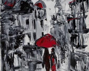 PARIS. FRANCE. Black and white art. Acrylic painting on canvas by Ukrainian artist Nataly Basarab. 40x30, Impasto. Original Art, signed
