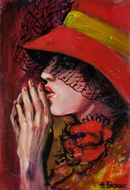 Donne nei quadri di cappelli. Dipinto acrilico artista ucraino
