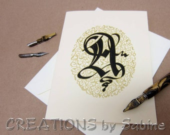 Monogram Calligraphy Greeting Card, Handwritten Original Art Initials Black Gold Off White Old English Initial Handmade / READY TO SHIP
