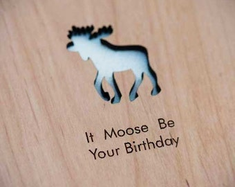 Moose Birthday Wood Laser-Cut Card