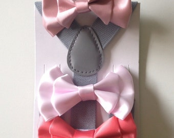 Blush Bow tie Suspenders Baby bow tie Toddler Bowtie Coral Boy Bowties Light Pink Ring Bearer Outfit Groom Toddler Necktie Gray Mens Wedding