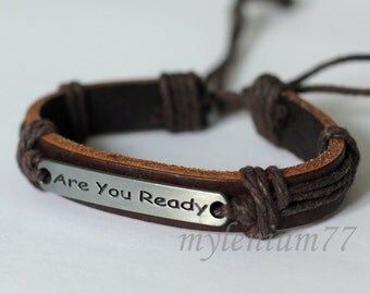 342 Men bracelet Women bracelet Leather bracelet Are You Ready bracelet Ropes bracelet Band bracelet Bangle bracelet Fashion bracelet