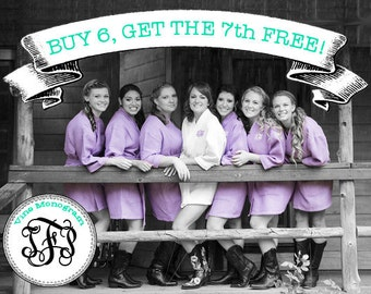 FREE ROBE - Set of 7 Lavender Cotton Waffle Robes - Personalized Robe - Bridesmaid Gift - Wedding