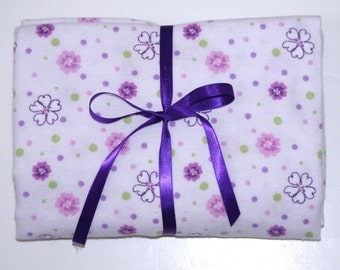 Pack n Play Fitted Cotton FLANNEL Sheet - Purple flowers