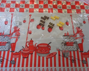 Plastic Picnic Tablecloth |  Vintage Corn Holders |  Plastic Tablecover | Summer Barbeque Party Decor
