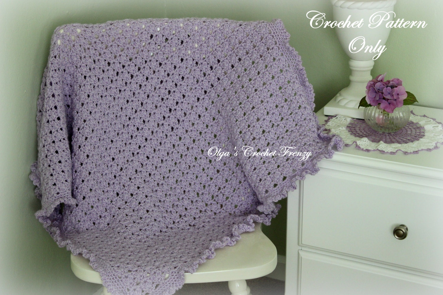 Lilac Baby Blanket with Ruffle Trim Crochet Pattern Beginner