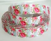 "7/8"" Ribbon by the Yard Vintage Floral Aqua pink hot pink roses-Hair bows sewing crafts WHolesale by Ribbon Lane Supplies"