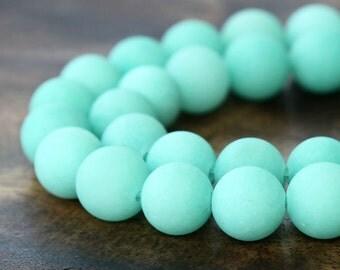 Matte Dyed Jade Beads, Aqua, 8mm Round - 15 inch strand - eFJR-G63-8