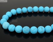 Natural Matte Stabilized Turquoise Quartz Frosted Gemstones 4mm 6mm 8mm 10mm 12mm Round Loose Spacer Beads 15'' Strand Jewelry Design