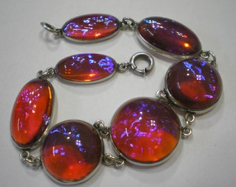 RESERVED Vintage Sterling Silver Dragons Breath Seven Glass Opal Stone Bracelet 7.25 Inches 2 of 3 Payments