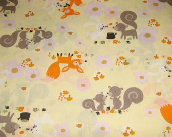 Yellow Animals Of The Forest  Cotton Fabric