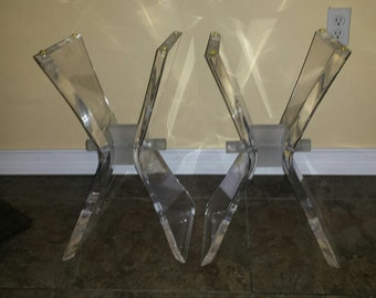 Mid Century Bowtie/ Butterfly Base Acrylic Lucite Glass Coffee table or 2 night stands