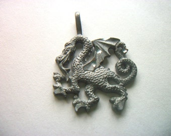 Vintage Diamond Cut Dragon Charm / Pendant     # I I 12
